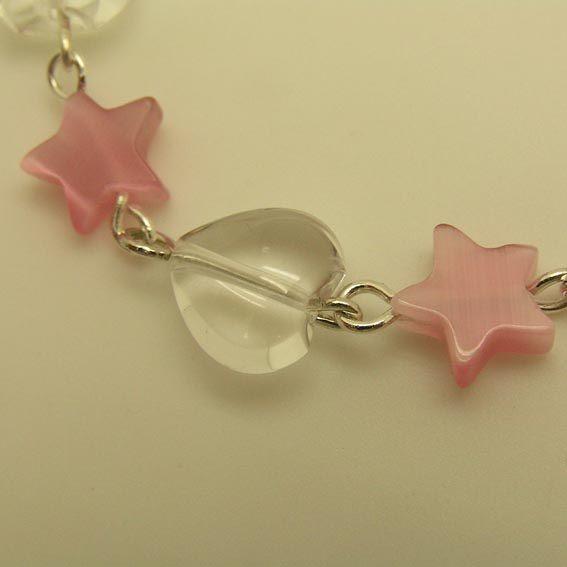 白水晶心型與粉紅貓眼星星手鍊