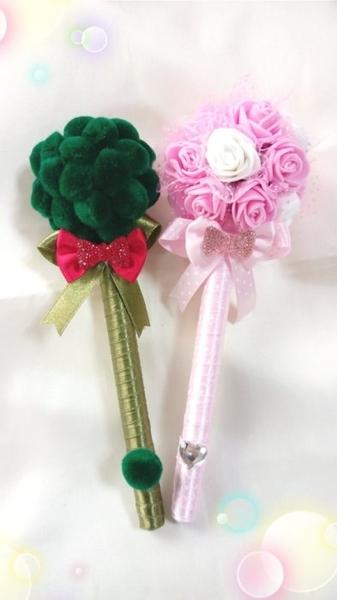 新品~花椰菜先生捧花小姐手作造型簽名筆(一對) 結婚用品 婚禮小物 禮贈品 ht-0117