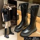 黑色機車靴女2020年新款厚底中筒馬丁靴高筒保暖騎【全館免運】