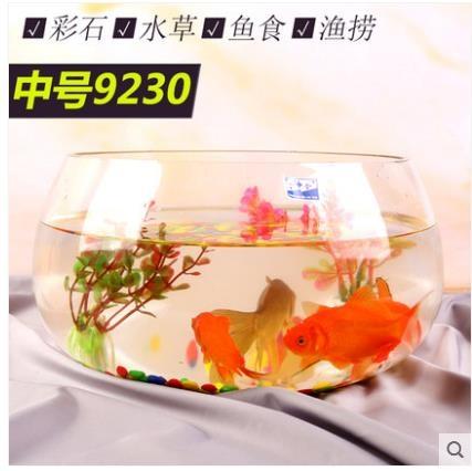 魚缸玻璃圓形辦公桌綠蘿水培家用小魚創意透明小型迷你桌面烏龜缸