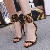 丁果女鞋35-40►2019時尚歐美明星款性感豹紋一字帶綁帶高跟鞋涼鞋