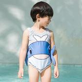 男女童寶寶泳衣中小童連體游泳衣男孩可愛卡通溫泉兒童泳裝送帽子
