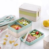 【三層便當盒】附隔板+餐具 無毒小麥秸稈 日式三格餐盒 可微波 學生上班族手提飯盒 野餐盒 餐具