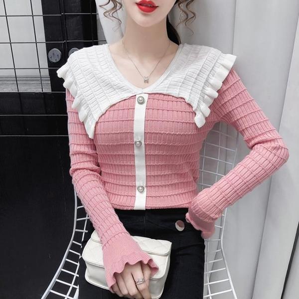促銷全場九五折 秋冬新款洋氣撞色娃娃領毛衣打底衫女修身百搭長袖套頭上衣潮