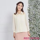 Red House 蕾赫斯-蕾絲透膚細褶上衣(米白色)