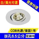 【奇亮科技】含稅 7W COB LED崁燈 崁孔6.5公分 全電壓 保固1年 白光黃光