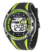 JAGA捷卡 多功能大視窗 冷光 電子錶 男錶 黑綠色 M980-AF 防水手錶 電子錶 夜光 軍錶 復古 運動錶