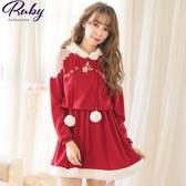 洋裝 透膚削肩毛球連帽針織長袖洋裝-Ruby s 露比午茶