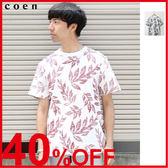 出清 潮t 圓領衫 男生T恤 短袖上衣 植物印花 現貨 免運費 日本品牌【coen】