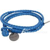 BOTTEGA VENETA 編織小羊皮雙繩多圈手環(星空藍) 1830532-23
