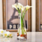 花瓶 歐式簡約玻璃花瓶創意透明人造水晶插花玻璃餐桌客廳裝飾花干花器 ATF poly girl