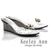 ★零碼出清★Keeley Ann高貴奢華~性感透視風水滴鑲鑽金屬飾釦楔形拖鞋(鐵灰色)