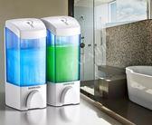 酒店衛生間壁掛手動塑料皂液器賓館雙頭洗發水沐浴露盒皂液器免運直出 交換禮物