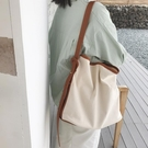 水桶包 韓國新款子母包簡約百搭帆布包女斜背單肩ins大容量購物袋  【端午節特惠】