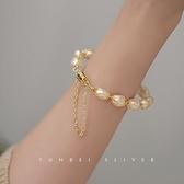 手鐲 淡水珍珠編織手鐲女輕奢精致ins小眾設計在逃公主手串鍍14k金手鍊 美物居家 免運