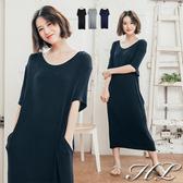 .GAG GLE超大尺碼.【17060033】極簡風純色舒適修身短袖洋裝 3色