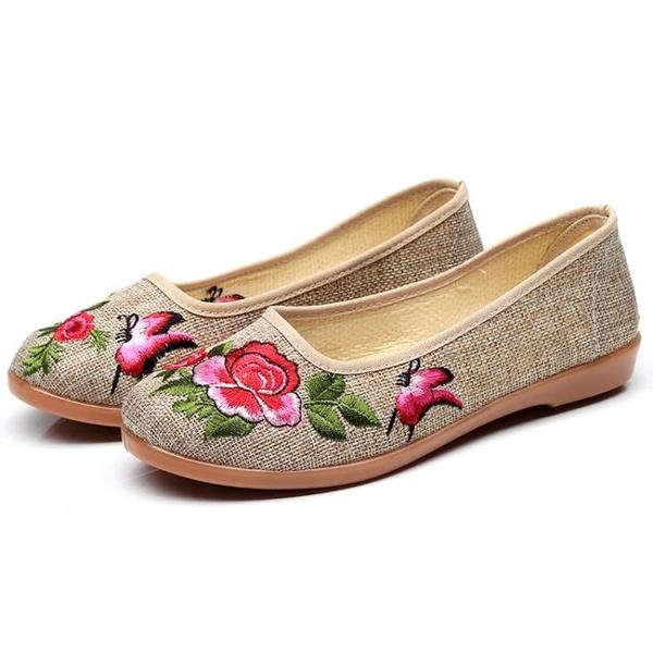 布鞋 繡花鞋 女鞋 老北京布鞋女款一腳蹬繡花軟底中年平跟懶人鞋子平底舒適工作單鞋