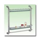 【 麗室衛浴】雙層強化玻璃置物架 下方附毛巾桿 370*155*485mm