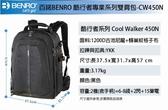 【聖影數位】BENRO 百諾 Cool Walker Pro 酷行者專業系列 CW450N 雙肩攝影背包 附防雨罩可攜腳架 黑