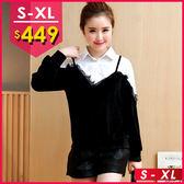 今年不可或缺的-料蕾絲假兩件寬鬆拼接絨襯衫 S-XL O-Ker 歐珂兒 138006-C2
