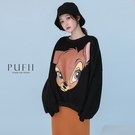 PUFII-上衣 卡通印圖內磨毛長袖大學T-1124 現+預 冬【CP19434】