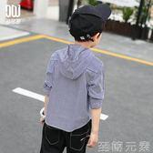 多多家童裝男童條紋襯衫春裝新款中大兒童帶帽長袖襯衣潮3510 至簡元素