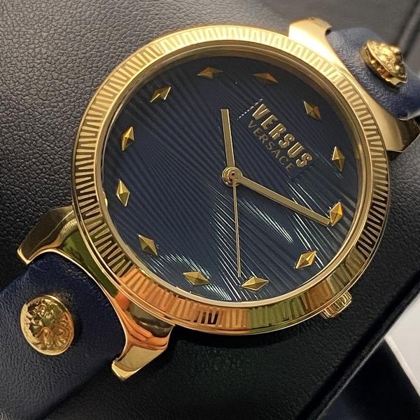 星晴錶業-VERSUS VERSACE凡賽斯女錶,編號VV00006,36mm金色錶殼,寶藍錶帶款