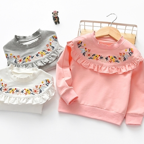 長袖上衣 韓版女童花朵刺繡套頭上衣 W73053 AIB小舖