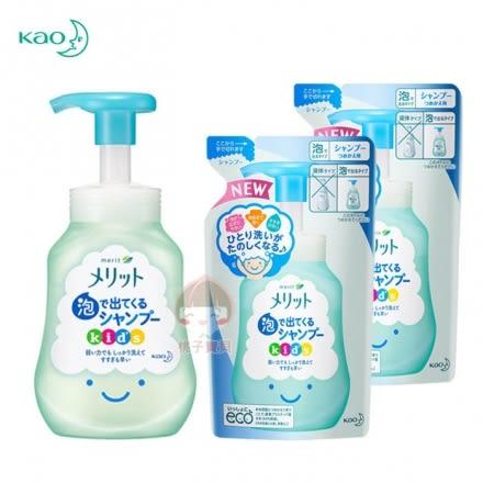 【日本Kao】花王 兒童專用幕斯泡泡洗髮精_超值組 (瓶裝+補充包*2)~無矽靈‧日本製✿桃子寶貝✿