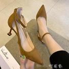 涼鞋女仙女風夏新款時尚性感一字扣帶休閒百搭包頭高跟鞋細跟 町目家