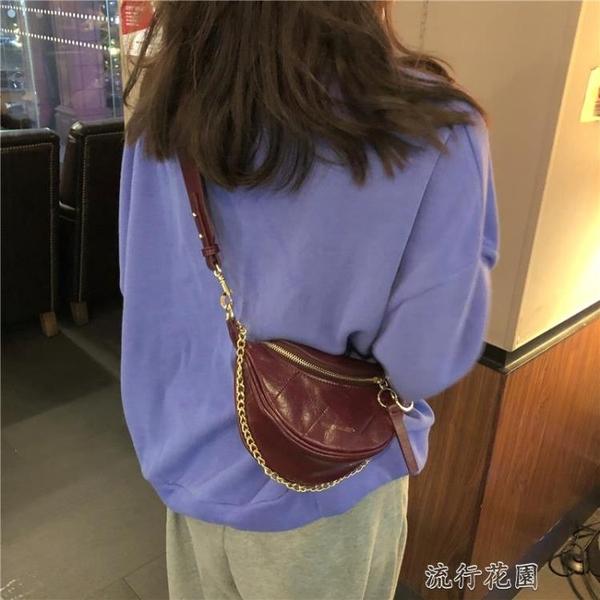 快速出貨 手提包新款褶皺腰包小香風菱格包圓環飾手提單肩包斜挎胸包包女