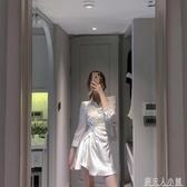 ByYou 夏季襯衫領白色綢緞洋裝女設計感氣質收腰顯瘦不規則裙子「錢夫人小鋪」