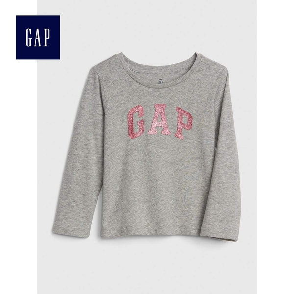 Gap女嬰幼童 Logo長袖圓領T恤 497451-麻灰色