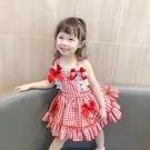 吊帶裙 夏季新品女童公主裙無袖背心格子裙日常百搭洋氣紅色吊帶裙子
