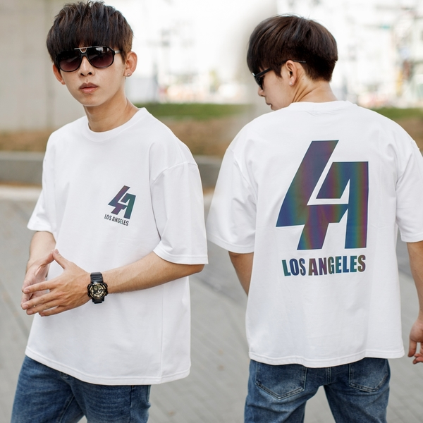 T恤 彩色反光LA文字短T【NB1028J】