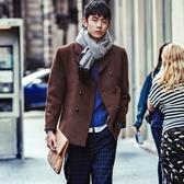毛呢外套-撞色拼接雙排釦修身短款男大衣72e19[巴黎精品】