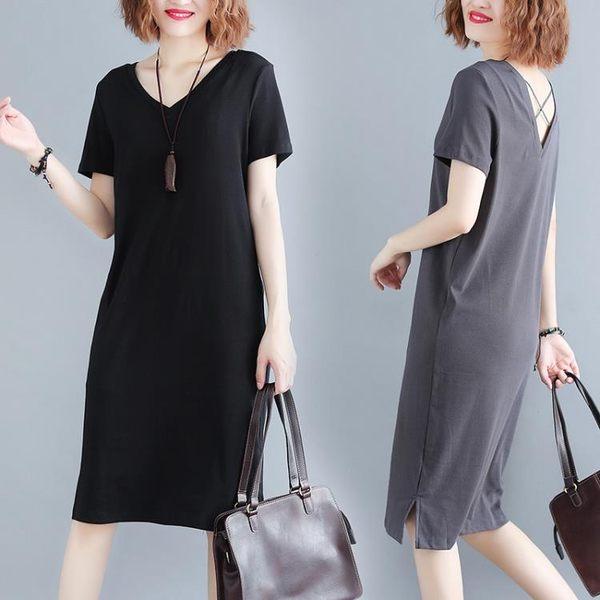 大碼女裝胖mm遮肚很仙的連身裙女春秋2019新款春夏裝寬鬆洋氣裙子
