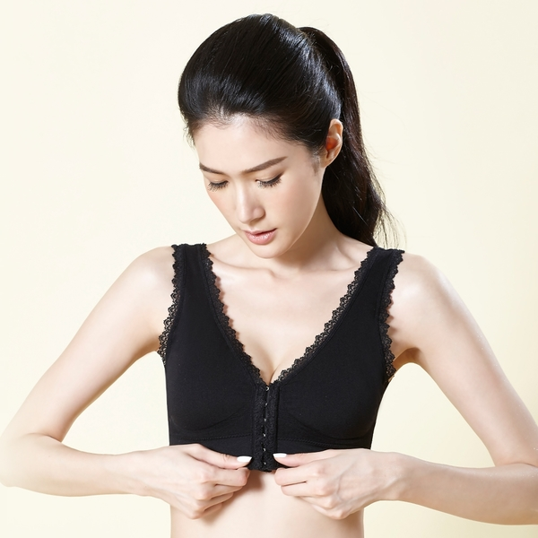 運動內衣 無鋼圈輕量蕾絲前扣運動內衣(黑色)【Daima黛瑪】