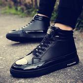 高筒男鞋潮鞋百搭英倫高筒板鞋男內增高馬丁靴男 可可鞋櫃
