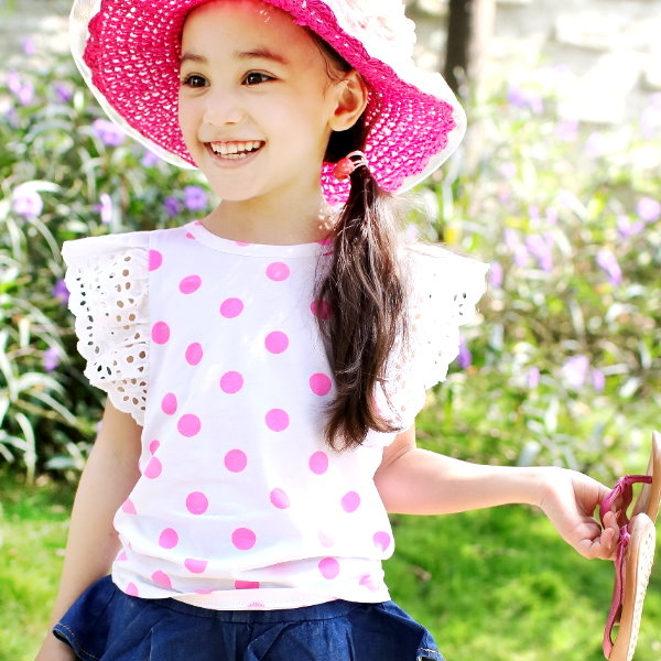 【韓版童裝】彈力後蝴蝶結布蕾絲袖點點背心上衣/公主上衣-白【BD16052008】