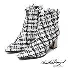 踝靴 法式浪漫小香風粗跟尖頭靴(白) * BalletAngel  【18-1569-2w】【現貨+預購】