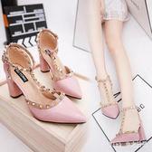 大尺碼粗跟高跟鞋 歐美春夏季女單鞋鉚釘尖頭包頭涼鞋女鞋 nm6474【pink中大尺碼】