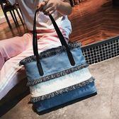 購物包 大容量包包女夏季牛仔帆布包韓版時尚流蘇單肩大包手提包【韓國時尚週】