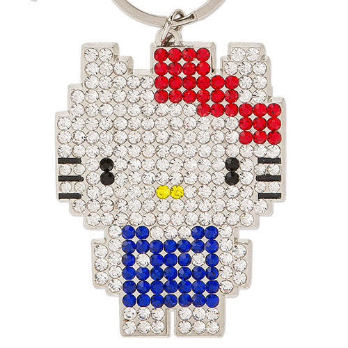 【震撼精品百貨】Hello Kitty 凱蒂貓~HELLO KITTY趣味點陣系列彩鑽鑲飾鑰匙圈