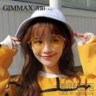 青陌多邊形眼鏡女款大框潮人太陽鏡透明個性網紅墨鏡圓臉裝飾鏡(送鏡盒)