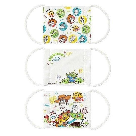 小禮堂 迪士尼 玩具總動員 兒童平面布口罩 純棉口罩 平面口罩 (3入 白綠 角色) 4973307-50038