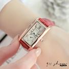 Lacuna.REBIRTH品牌。長方羅馬數字秒針圈鱷魚紋皮革錶帶手錶【ta069】911 SHOP
