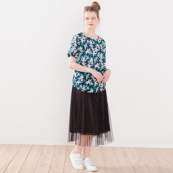 【衣大樂事】時尚蕾絲雙層網裙