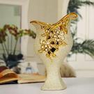 陶瓷蝴蝶花瓶鍍金磨砂...