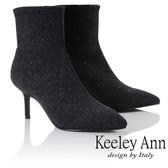 ★2018秋冬★Keeley Ann歐美摩登~亮粉閃耀細跟尖頭短靴(黑色) -Ann系列